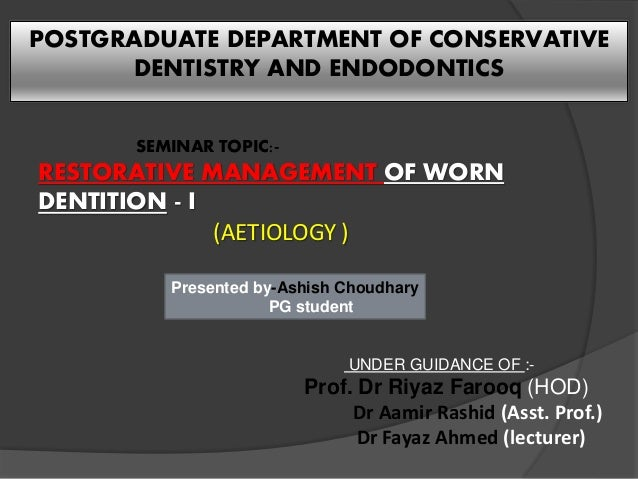 Conservative dentistry and endodontics thesis topics