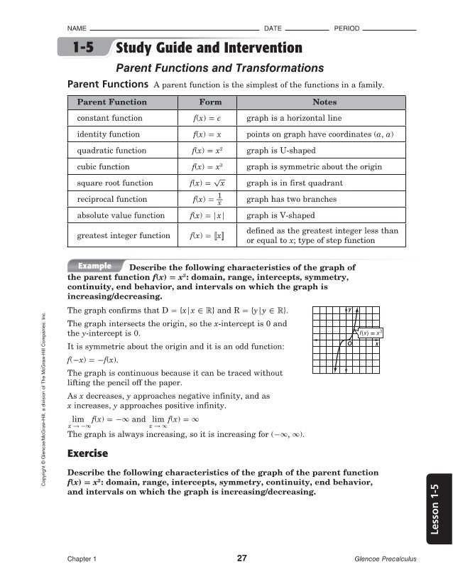Worksheet The Mcgraw-hill Companies Worksheet Answers 1 5 precalculus glencoe copyright mcgraw hill a division oi the companies