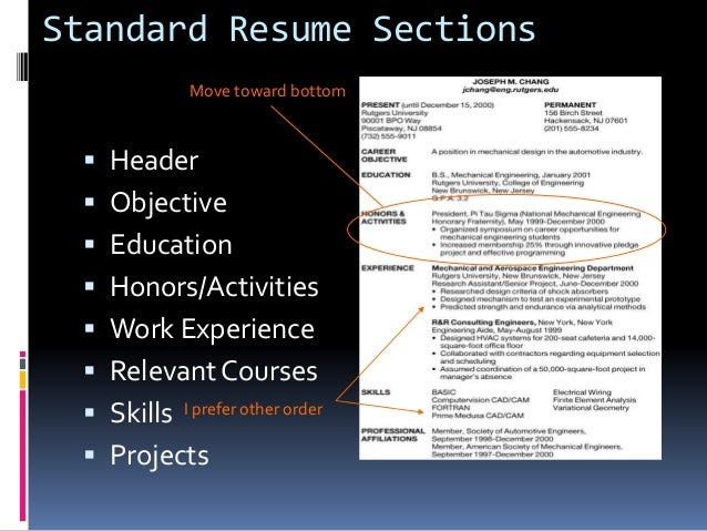 relevant coursework section on resume