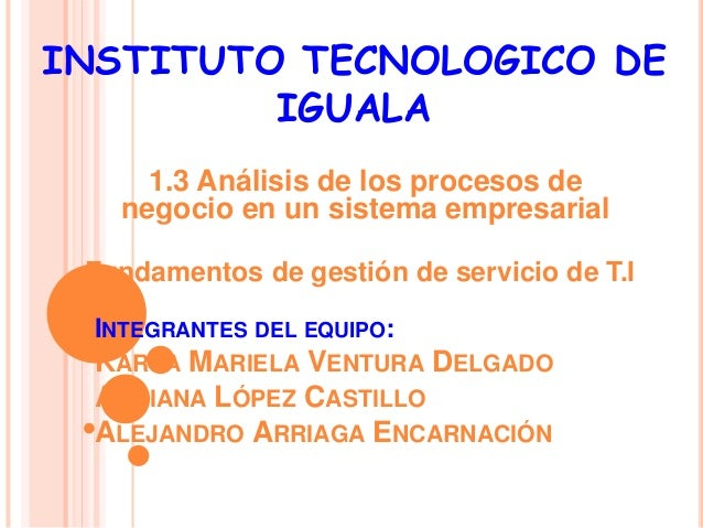 INSTITUTO TECNOLOGICO DE  IGUALA  1.3 Análisis de los procesos de  negocio en un sistema empresarial  Fundamentos de gesti...