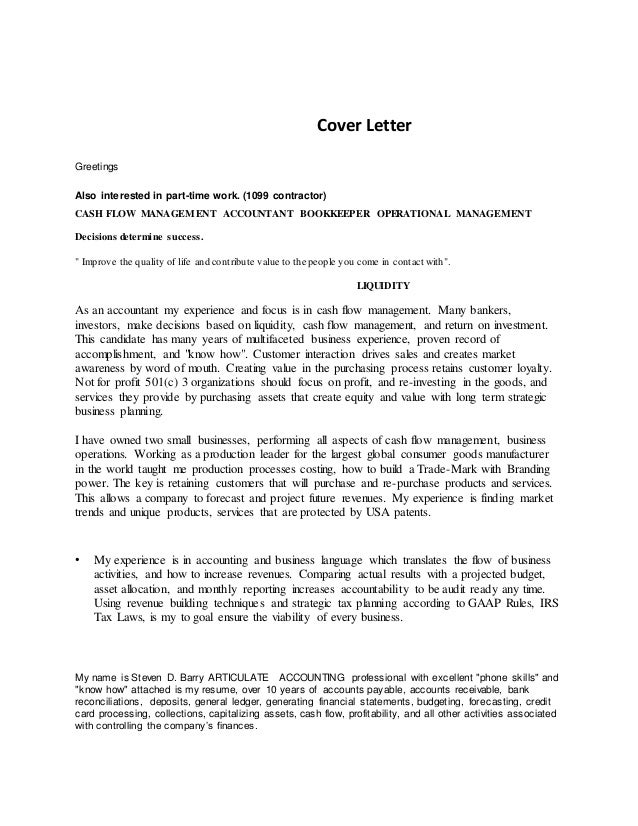 Cash Accountant Cover Letter