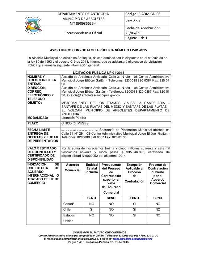 DEPARTAMENTO DE ANTIOQUIA MUNICIPIO DE ARBOLETES NIT 890985623-4 Código: F-ADM-GD-03 Versión: 0 Correspondencia Oficial Fe...