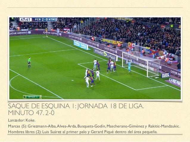 SAQUE DE ESQUINA 1: JORNADA 18 DE LIGA.   MINUTO 47. 2-0 Lanzador: Koke.  Marcas (5): Griezmann-Alba,Alves-Arda, Busquet...