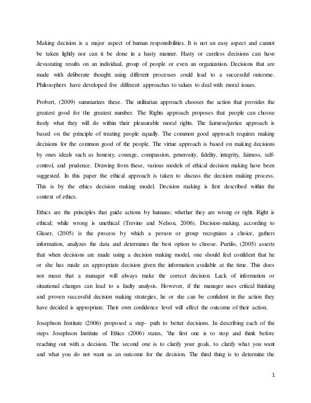 william stavropoulos decision making style essay Report documentation page a paper submitted to the faculty of the the human brain defaults to an intuitive decision-making style that is easier and.