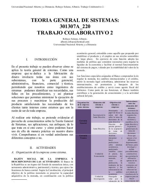 Universidad Nacional Abierta y a Distancia. Robayo Solano, Albenis. Trabajo Colaborativo 2. I. INTRODUCCIÓN En el presente...