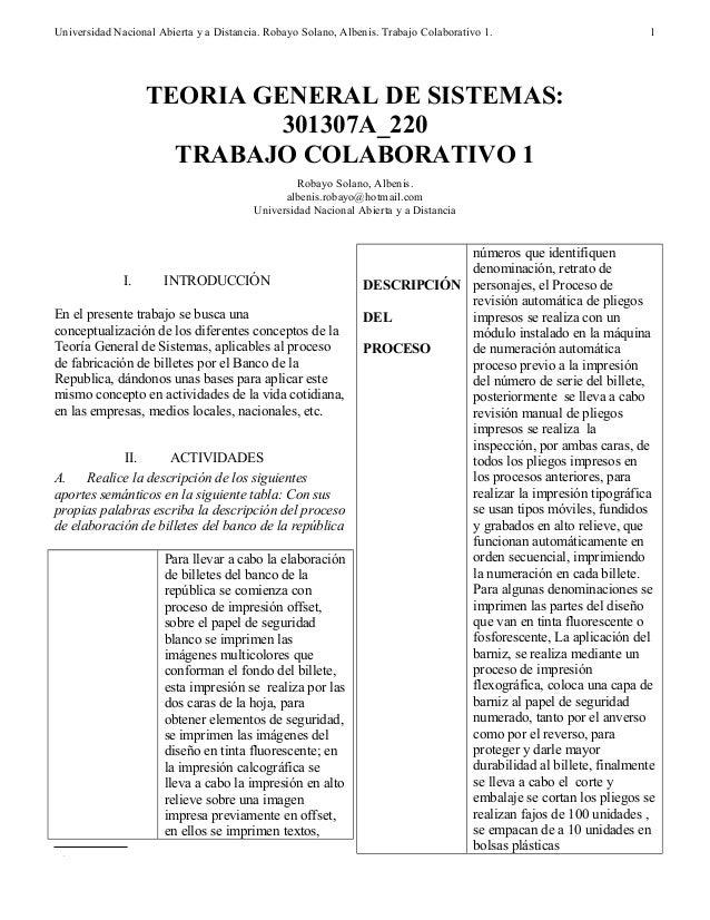 Universidad Nacional Abierta y a Distancia. Robayo Solano, Albenis. Trabajo Colaborativo 1. I. INTRODUCCIÓN En el presente...