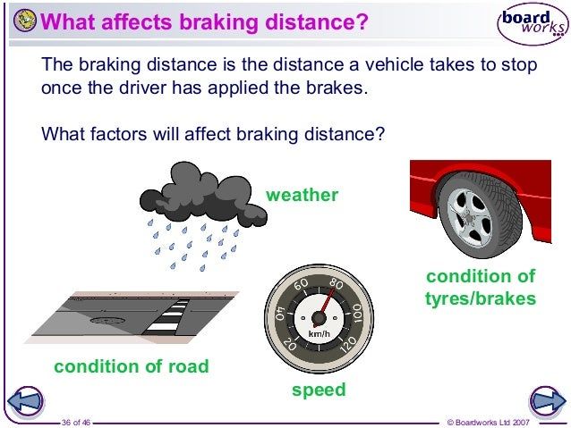 what affects the stopping distance of a vehicle 2 essay How doubling the mass affects the braking distance of a car forces and motion the braking distance of a car - mass the total stopping distance = thinking distance + braking distance changing the mass of a car does not change the thinking distance but.