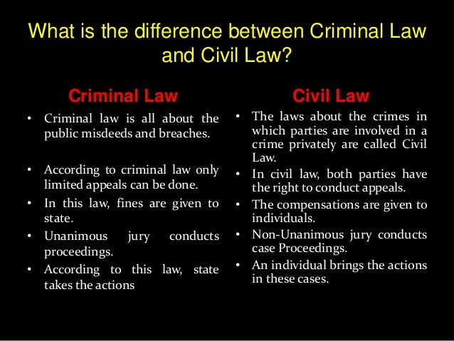 compare and contrast the criminal and The purpose of this essay is to compare and contrast criminal and civil law in civil law, a private party (eg, a corporation or individual person) files the lawsuit and becomes the plaintiff in criminal law, the litigation is always filed by the government, who is called the prosecution.