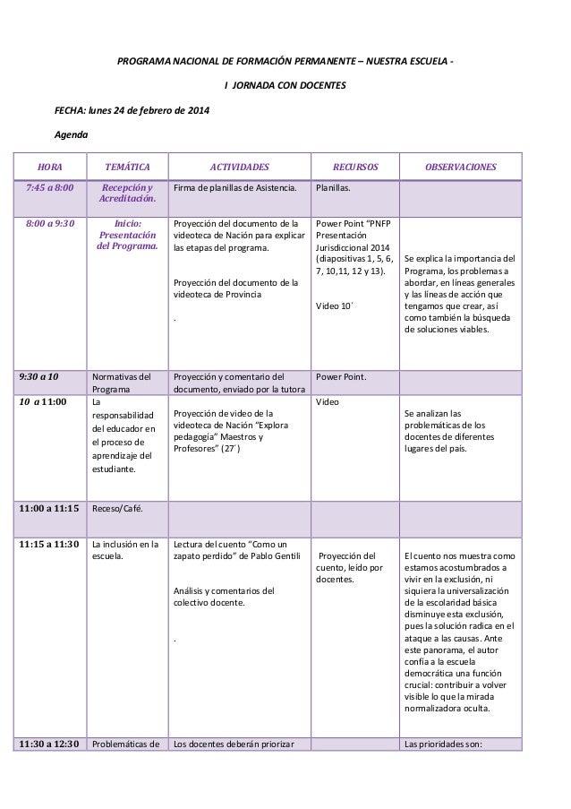 PROGRAMA NACIONAL DE FORMACIÓN PERMANENTE – NUESTRA ESCUELA - I JORNADA CON DOCENTES FECHA: lunes 24 de febrero de 2014 Ag...