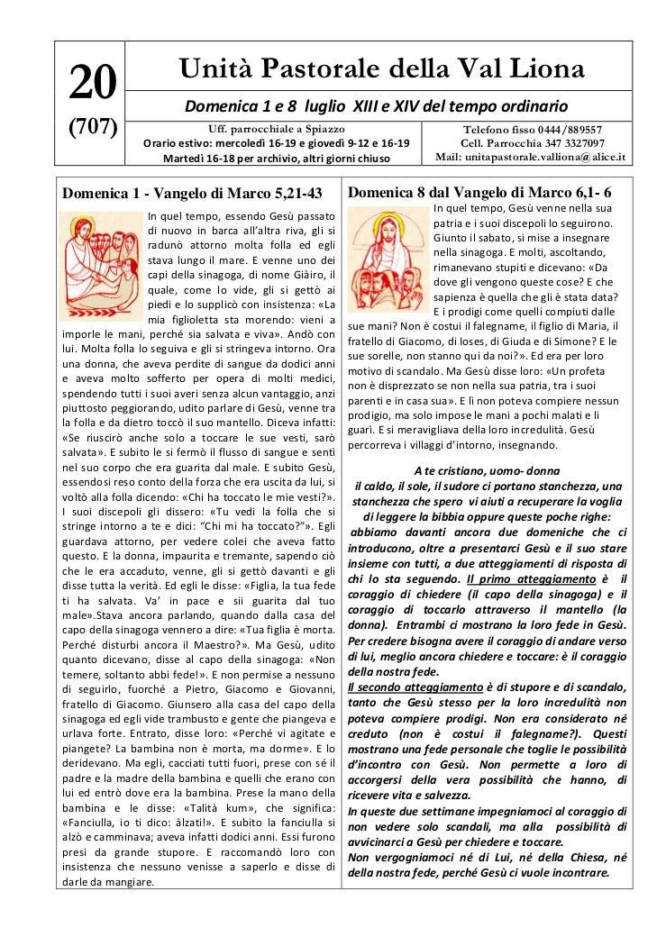 Unità Pastorale della Val Liona 20                          Domenica1e8luglioXIIIeXIVdeltempoordinario (707...