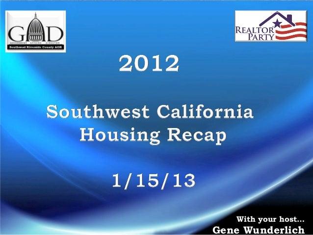 2012 Recap, 1/15 mls meeting