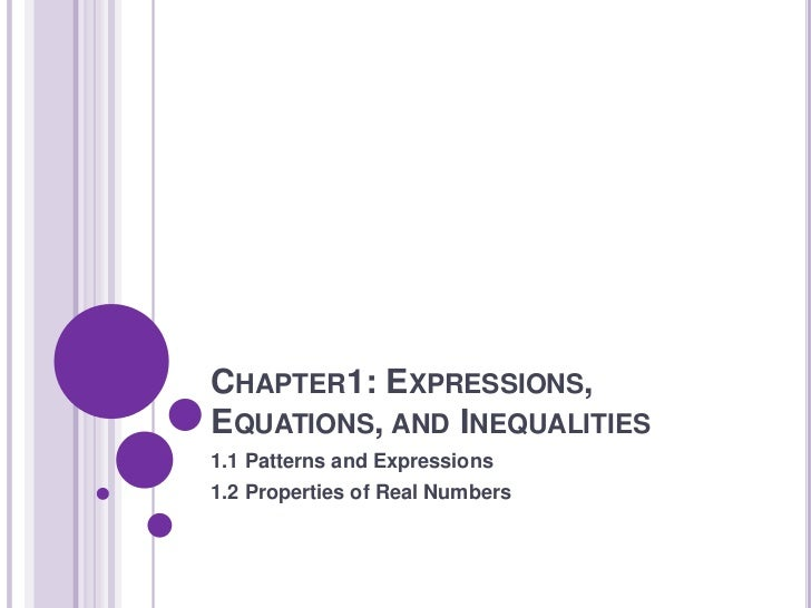 CHAPTER1: EXPRESSIONS,EQUATIONS, AND INEQUALITIES1.1 Patterns and Expressions1.2 Properties of Real Numbers