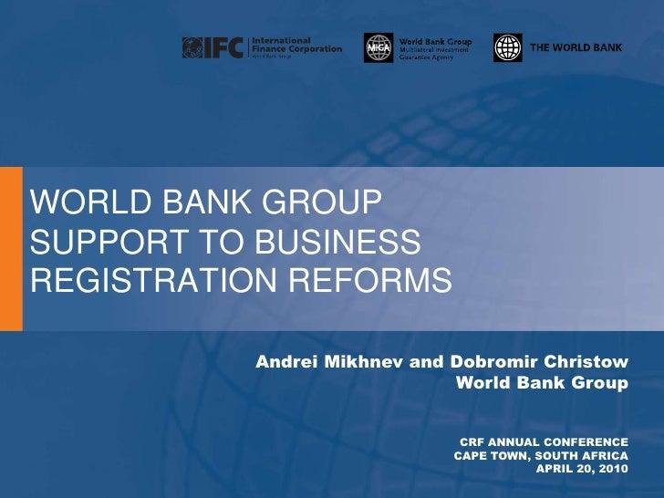 1 1 Business Registration Reforms (W Bank) 2