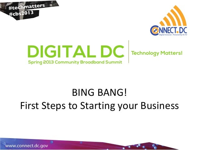 BING BANG!First Steps to Starting your Business