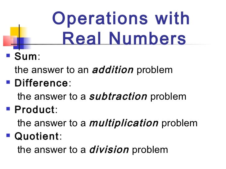 Division of Real Numbers Operations With Real Numbers