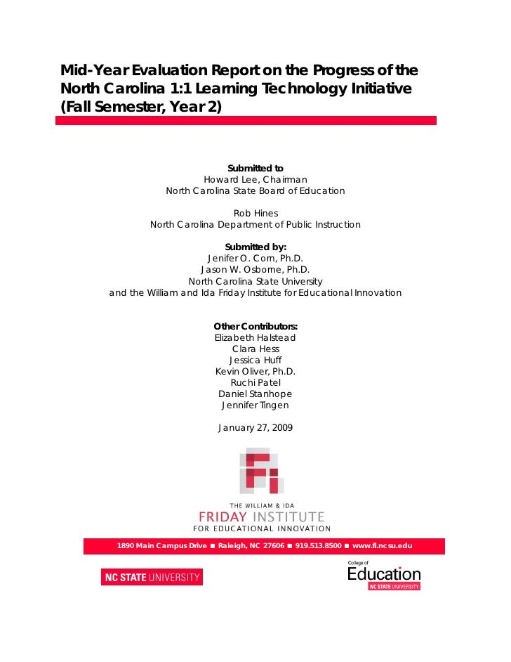 Mid-Year Evaluation Report on the Progress of the North Carolina 1:1 Learning Technology Initiative (Fall Semester, Year 2...
