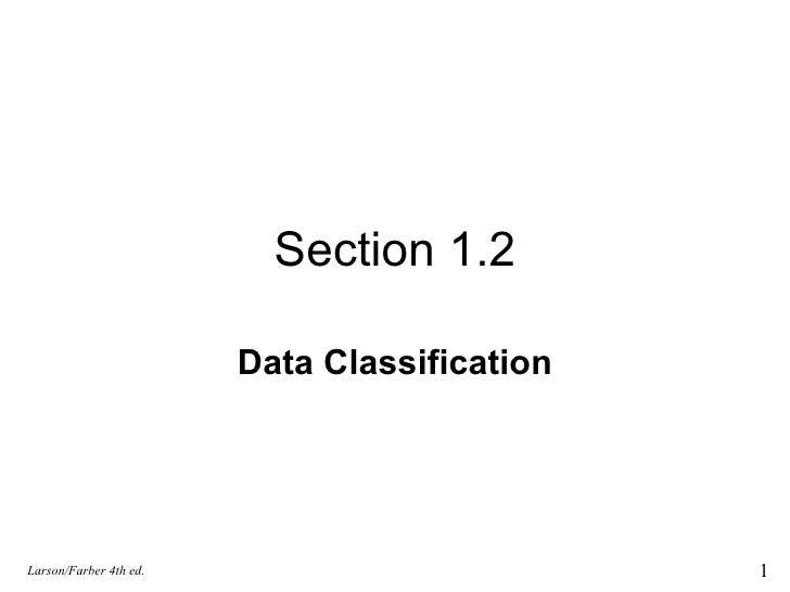 1.2 Data Classification