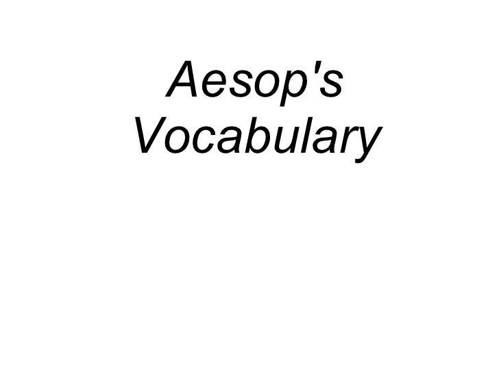 Aesop's Vocabulary