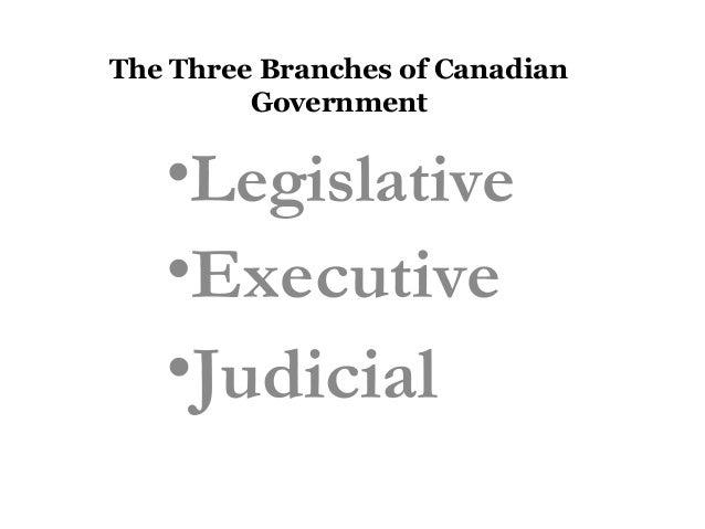 The Three Branches of Canadian Government  •Legislative •Executive  •Judicial