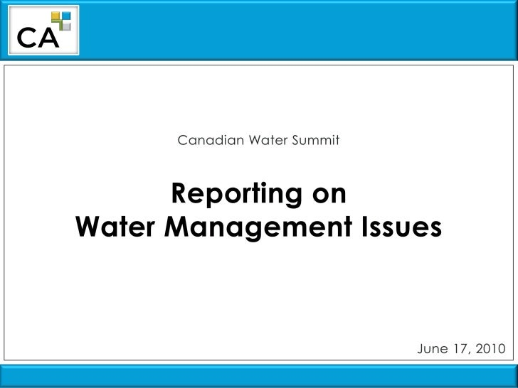 Lisa French, CICA - Reporting on Water Management Issues