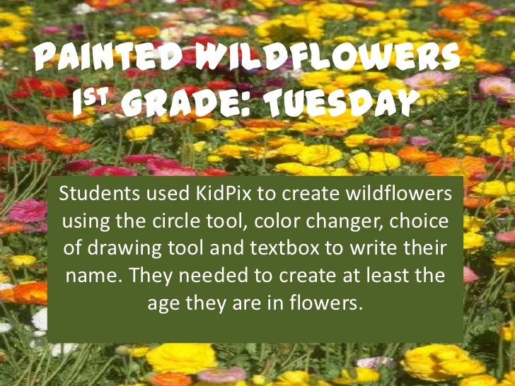 Painted Wildflowers  1st Grade: Tuesday Students used KidPix to create wildflowers using the circle tool, color changer, c...