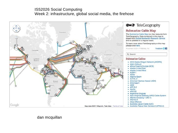 IS52026 Social Computing Week 2: infrastructure, global social media, the firehose dan mcquillan