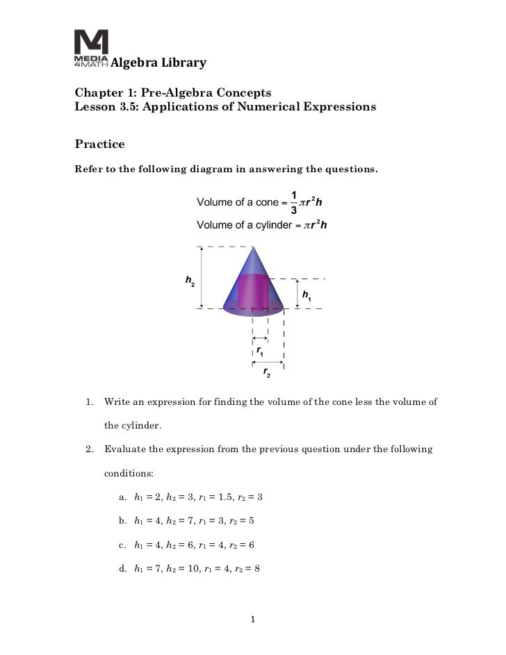 Algebra Library  Chapter 1: Pre-Algebra ConceptsLesson 3.5: Applications of Numerical Expressions  PracticeRefe...