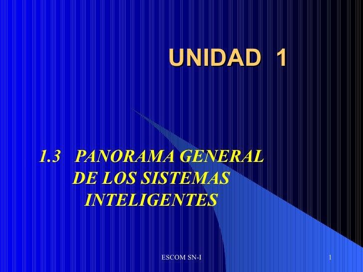 UNIDAD  1 1.3 PANORAMA GENERAL DE LOS SISTEMAS INTELIGENTES