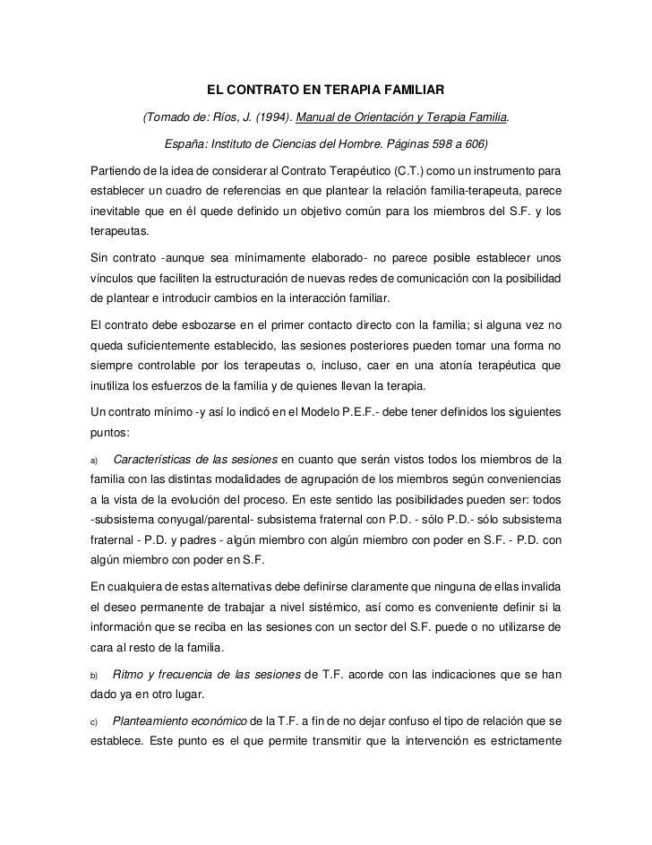 EL CONTRATO EN TERAPIA FAMILIAR          (Tomado de: Ríos, J. (1994). Manual de Orientación y Terapia Familia.            ...