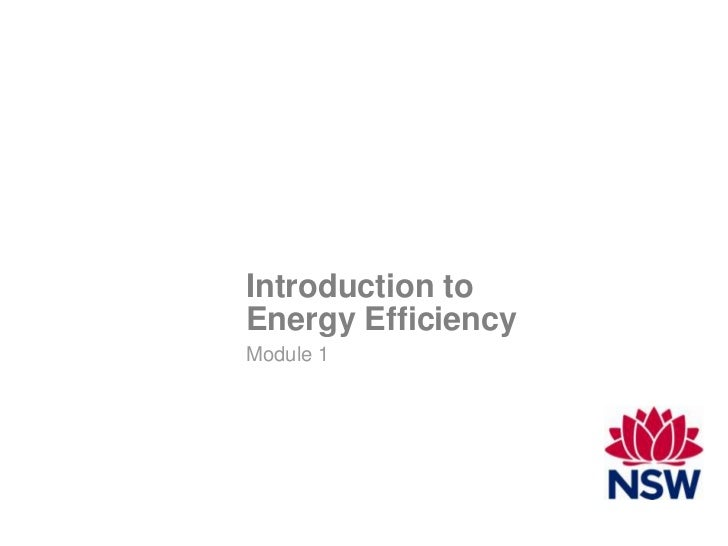 Module 1 - Introduction to Energy Efficiency