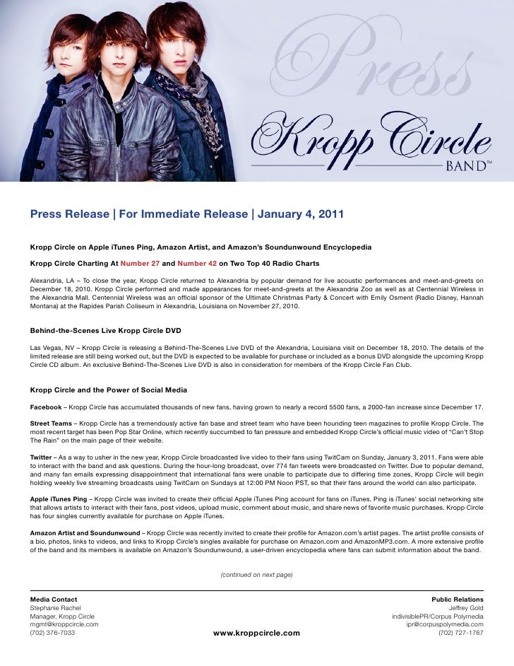Press Release | For Immediate Release | January 4, 2011Kropp Circle on Apple iTunes Ping, Amazon Artist, and Amazon's Soun...