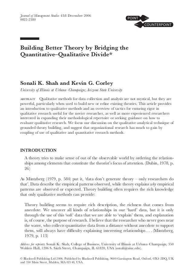 MIX methode- building better theory by bridging the quantitative-qualitative divide