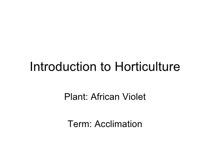 Introduction to Horticulture Plant: African Violet Term: Acclimation