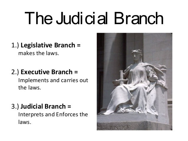 The Judicial Branch 1.) Legislative Branch = makes the laws.  2.) Executive Branch =  Implements and carries out the laws....