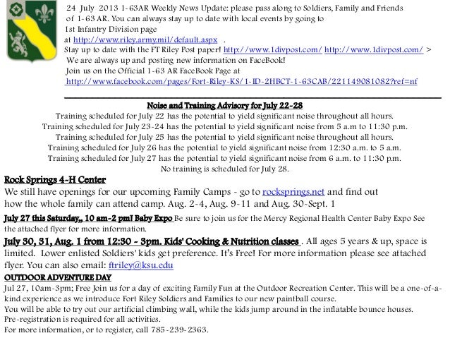 24 July 2013 1-63AR Weekly News Update: please pass along to Soldiers, Family and Friends of 1-63 AR. You can always stay ...