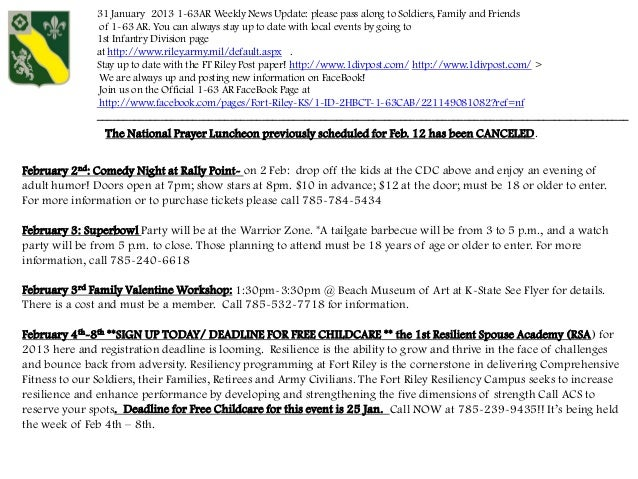 31 January 2013 1-63AR Weekly News Update: please pass along to Soldiers, Family and Friends               of 1-63 AR. You...