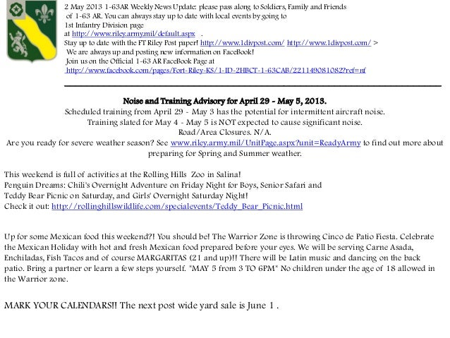 2 May 2013 1-63AR Weekly News Update: please pass along to Soldiers, Family and Friendsof 1-63 AR. You can always stay up ...