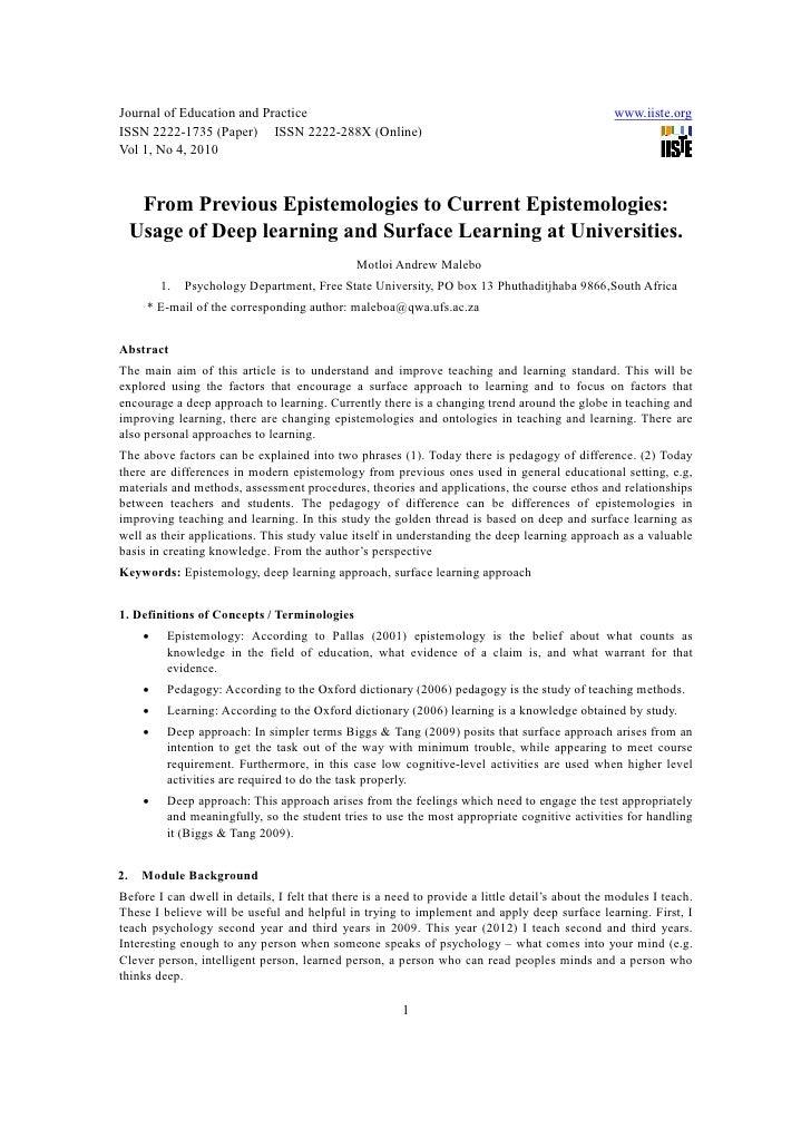 [1 6]from previous epistemologies to current epistemologies