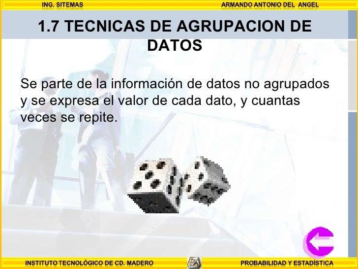 1.7 TECNICAS DE AGRUPACION DE DATOS Se parte de la información de datos no agrupados y se expresa el valor de cada dato, y...