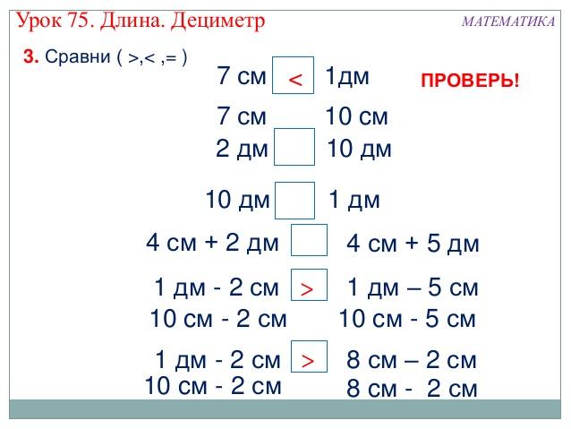 сантиметров в дециметре: