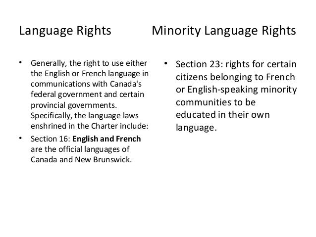 Language Rights in Canada Language Rights • • Generally