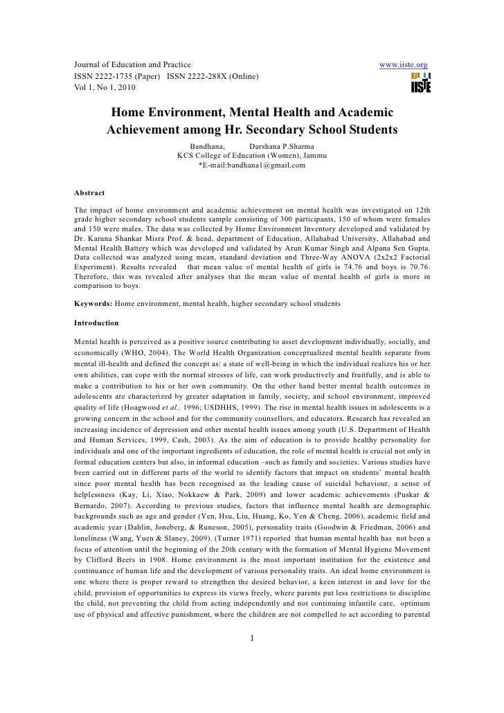 [1 7]home environment, mental health and academic achievement among hr. secondary school students