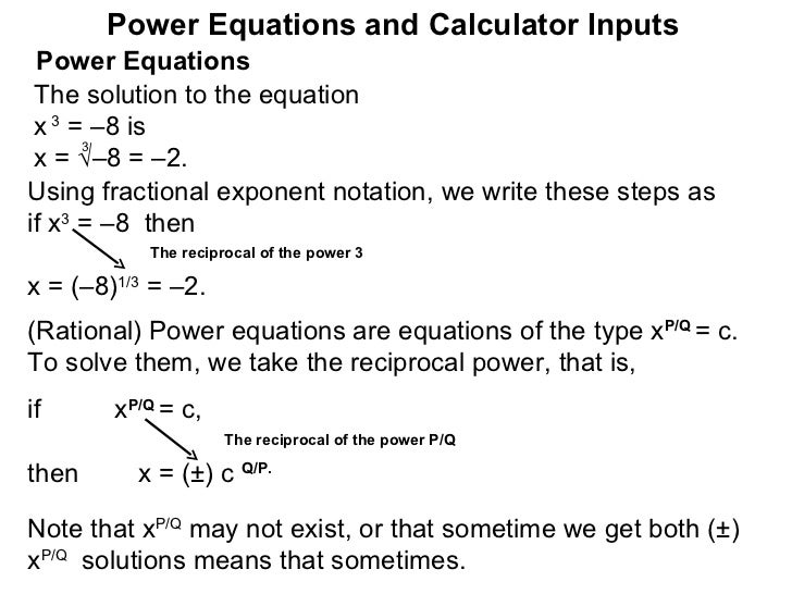 1.7 power equations and calculator inputs