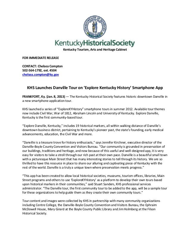 Kentucky Tourism, Arts and Heritage CabinetFOR IMMEDIATE RELEASECONTACT: Chelsea Compton502-564-1792, ext. 4504chelsea.com...