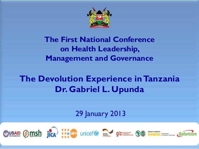 1.8 Dr. Upunda Presentation LMG Health Conference 29 Jan13
