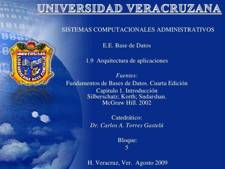 UNIVERSIDAD VERACRUZANA<br />SISTEMAS COMPUTACIONALES ADMINISTRATIVOS<br />E.E. Base de Datos<br />1.9  Arquitectura de ap...