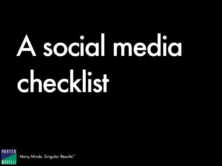 1   A Social Media Checklist