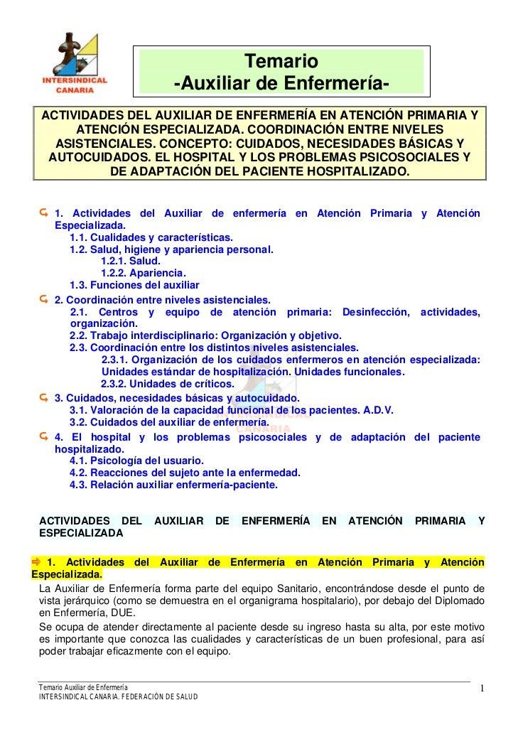 Temario                                    -Auxiliar de Enfermería-  ACTIVIDADES DEL AUXILIAR DE ENFERMERÍA EN ATENCIÓN PR...