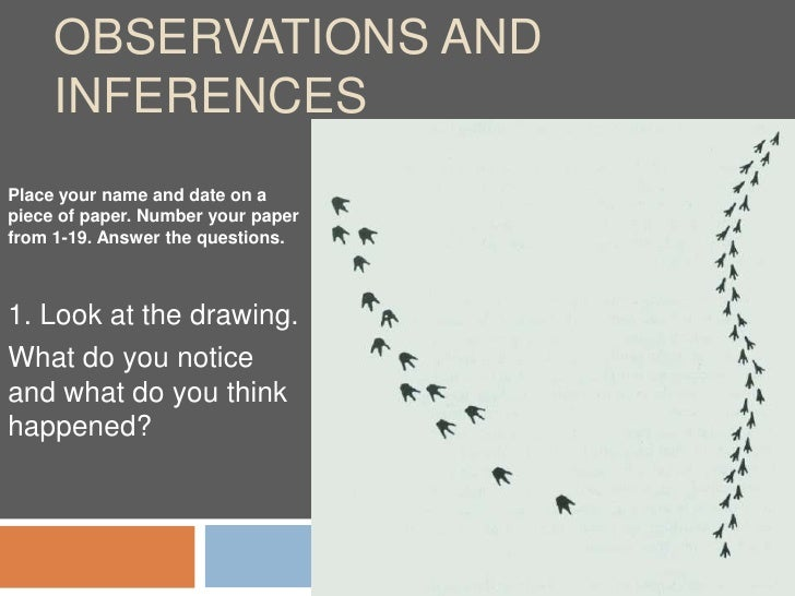 Observations and Inferences<br />Place your name and date on a piece of paper. Number your paper from 1-19. Answer the que...