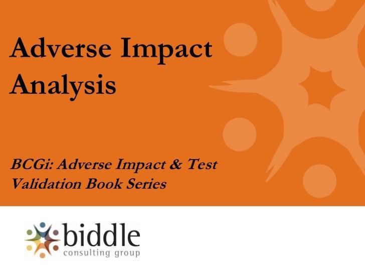 Adverse ImpactAnalysisBCGi: Adverse Impact & TestValidation Book Series